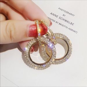 Gorgeous pave double dangle midi hoops.  Starlight
